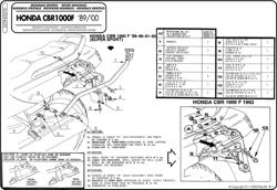 Specific rear rack for MONOKEY® or MONOLOCK® top case Honda CBR 1000 F 89-00