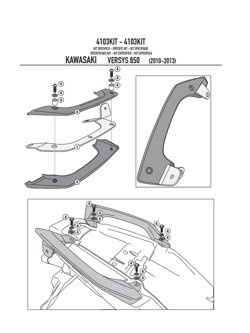 Kit GIVI to install the PL4103CAM without the specific rear rack 451FZ Kawasaki Versys 650 [10-14]