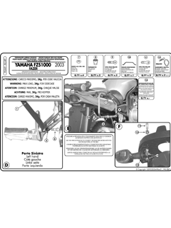 Stelaże pod kufry boczne Monokey do Yamahy FZS 1000 Fazer (03 > 05)