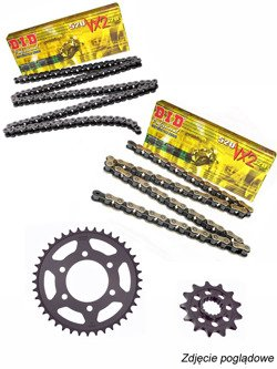 Zestaw napędowy: łańcuch D.I.D.520 VX3 PRO-STREET X-Ring super wzmocniony [112 ogniw] oraz zębatki SUNSTAR do KTM Duke 125 [11-13]